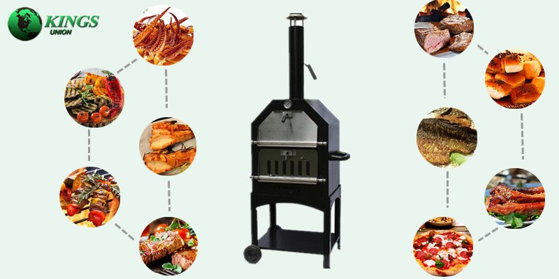 Charcoal Metal Wood Fired Pizza Oven With BBQ